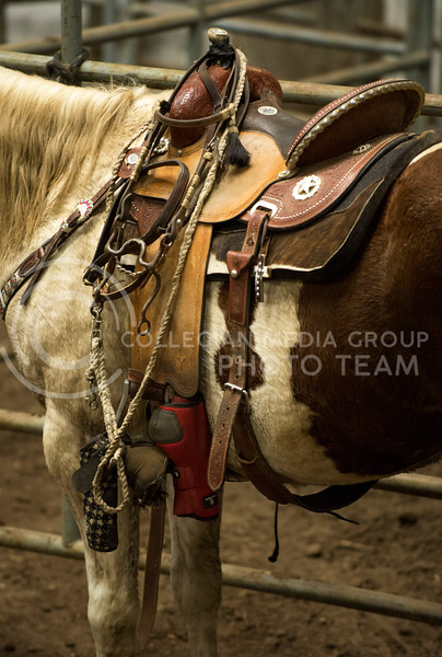 Sage Henderson's horse, Spot, and his tack after practice on Oct. 30.