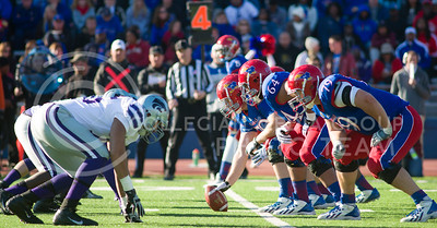 The K-State return team and the KU punt team line up at the line of scrimmage on Nov. 30 to compete for the annual Govenor's Cup.  KU leads the sports series overall at 554-457-7 according to K-State.