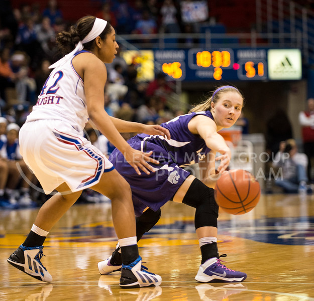 Kindred Wesemann, freshman guard, passes the ball during the Ku game at Allen Fieldhouse on Feb. 26.