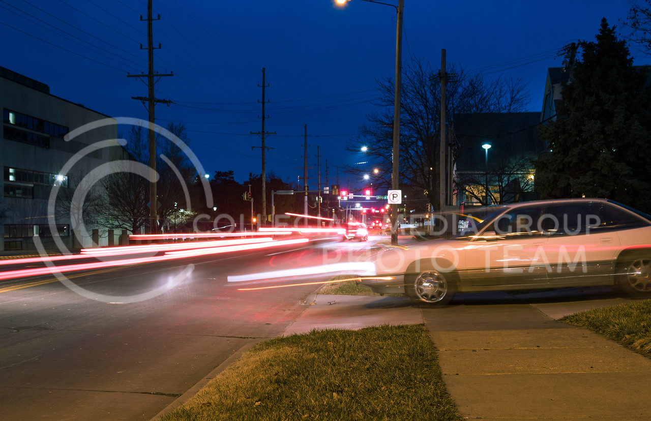 A car pulls out of a driveway onto Denison Road in Manhattan, Kansas on Feb. 26, 2017. (John Benfer   Royal Purple)