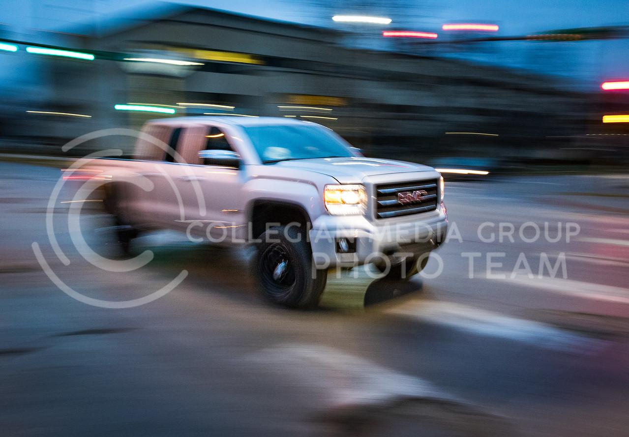 A truck drives through the Claflin and Denison intersection in Manhattan, Kansas on Feb. 26, 2017. (John Benfer   Royal Purple)