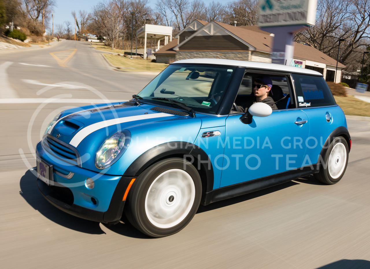 Sophomore in mass communications, Jack Bresser drives his car on Anderson Avenue in Manhattan, Kansas on Feb. 26, 2017. (John Benfer   Royal Purple)