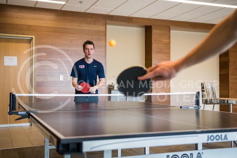 Logan Lea, sophomore in finance, plays table tennis in Wefald Hall on Feb. 1, 2017. (John Benfer | Royal Purple)
