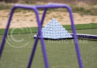 A pyramid of golf balls at the driving range at Colbert Hills Golf Course on Mar. 9, 2017. (John Benfer | Royal Purple)