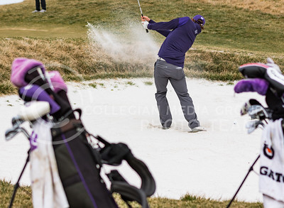 Sophomore Roland Massimino, K-State Men's Golf player, practices hitting balls out of a sand trap at Colbert Hills Golf Course on Mar. 9, 2017. (John Benfer | Royal Purple)