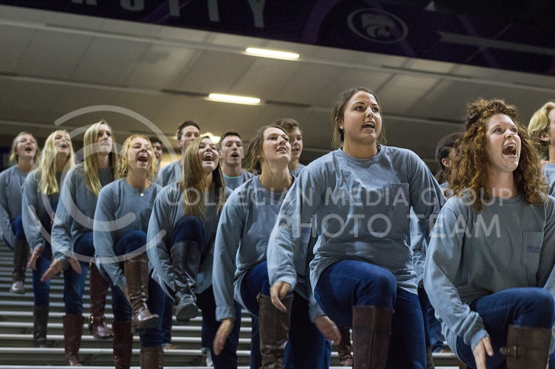 Alpha Delta Pi, Delta Sigma Phi, and Beta Upsilon Chi giving their Pant the Chant performance at Bramlage on October 15th, 2017. (Kelly Pham | Collegian Media Group)