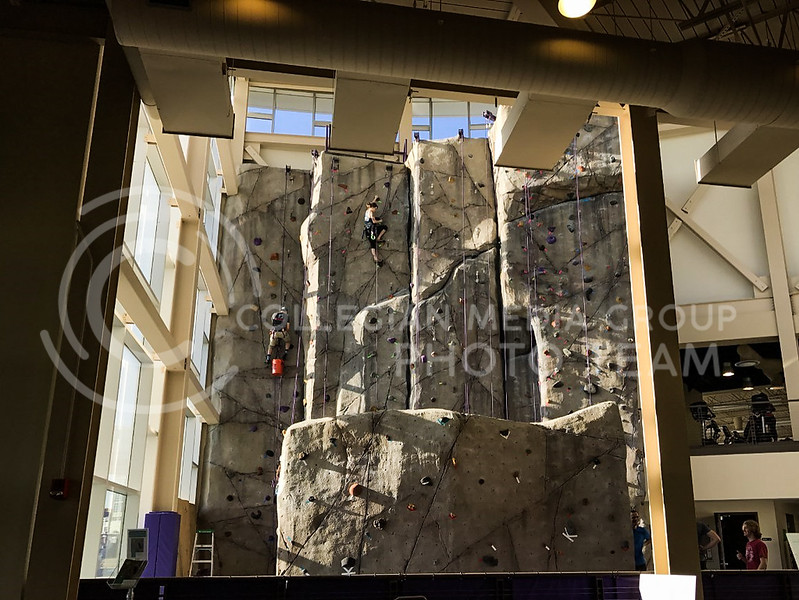 Workers work on the rock wall at the K-State Recreational Center on Jan. 3, 2017. (John Benfer | Royal Purple)