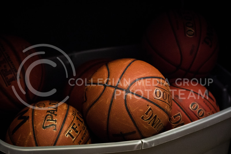 A tub of basketballs awaiting check-out in the K-State Recreational Center on Jan. 3, 2017. (John Benfer | Royal Purple)