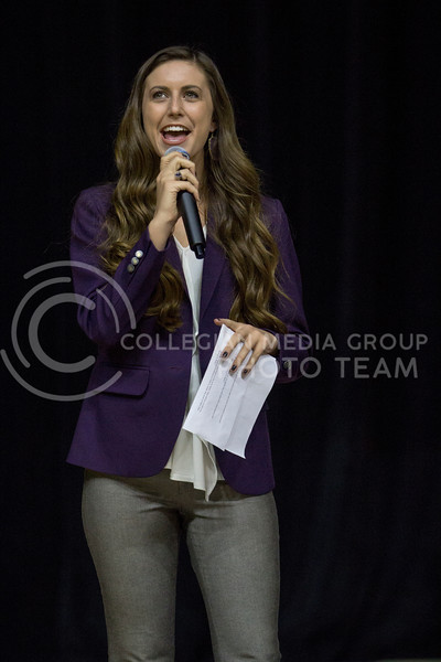 K-State's 2017 Female Student Ambassador Paige Engle asks the ambassador candidates questions during Wildcat Request Live on Oct. 17, 2017 at Bramlage Coliseum. (Sabrina Cline | Collegian Media Group)
