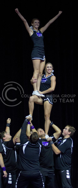 The K-State Cheer team kicks off Wildcat Request Live with their competition routine at Bramlage Coliseum on Oct. 17, 2017. (Sabrina Cline | Collegian Media Group)