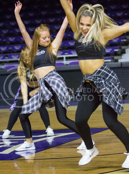 The K-State Classy Cats team performs a hip hop routine before Wildcat Request Live at Bramlage Coliseum on Oct. 17, 2017. (Sabrina Cline | Collegian Media Group)