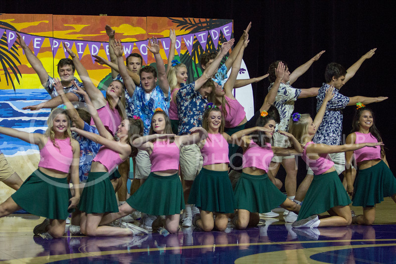 Members in the Greek pairing of Kappa Kappa Gamma, Sigma Alpha Epsilon and Pi Kappa Phi perform a dance routine during Wildcat Request Live at Bramlage Coliseum on Oct. 17, 2017. (Sabrina Cline | Collegian Media Group)