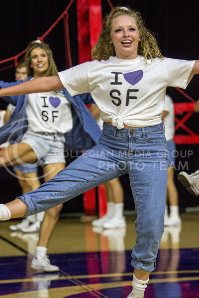 Members in the Greek pairing of Alpha Xi Delta, Phi Gamma Delta and Sigma Tau Gamma perform a dance routine during Wildcat Request Live at Bramlage Coliseum on Oct. 17, 2017. (Sabrina Cline | Collegian Media Group)