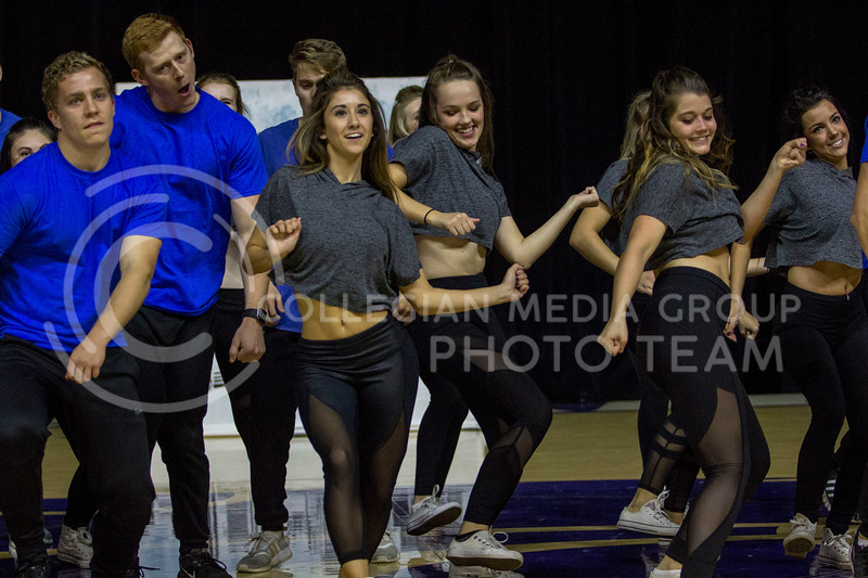 Members in the Greek pairing of Sigma Kappa, Farmhouse and Sigma Phi Epsilon perform a dance routine during Wildcat Request Live at Bramlage Coliseum on Oct. 17, 2017. (Sabrina Cline | Collegian Media Group)