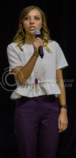 K-State's 2018 Female Student Ambassador candidate Michelle Anderson answers questions during Wildcat Request Live on Oct. 17, 2017 at Bramlage Coliseum. (Sabrina Cline | Collegian Media Group)