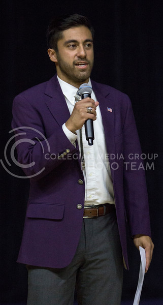 K-State's 2017 Male Student Ambassador Mario Garcia III asks the 2018 candidates questions during Wildcat Request Live on Oct. 17, 2017 at Bramlage Coliseum. (Sabrina Cline | Collegian Media Group)
