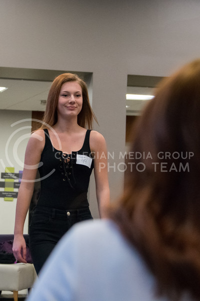 At the ATID model call in Justin Hall on March 1, 2018, models start by walking towards the judges, striking a pose, and walking back to their starting position. (Alex Todd | Collegian Media Group)