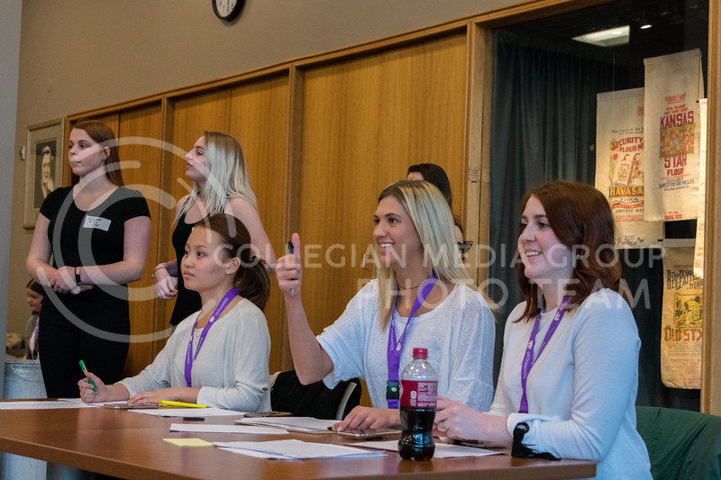 The judges give the thumbs up to a model to start walking at the ATID model casting call in Justin Hall on March 1, 2018. (Alex Todd | Collegian Media Group)