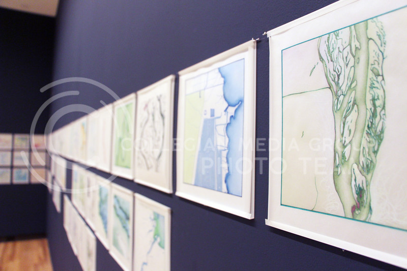 """Lynn Benson's """"Water Stories"""" pieces are on display at the Marianna Kissler Beach Museum of Art. Benson, of Kansas City, Kan., uses a range of mediums to highlight environmental and political issues regarding water resources. (Tiffany Roney 