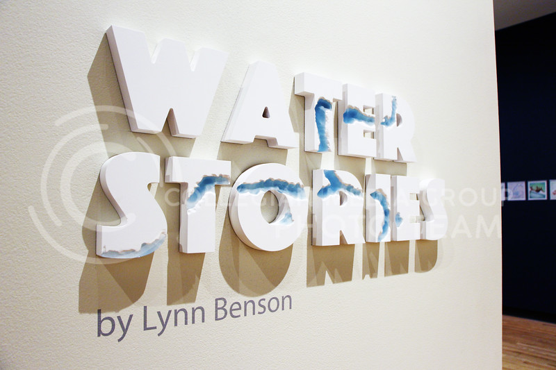 """Lynn Benson's """"Water Stories"""" pieces are exhibited at the Marianna Kissler Beach Museum of Art. Benson, of Kansas City, Kan., uses a range of mediums to highlight environmental and political issues regarding water resources. (Tiffany Roney 