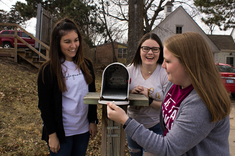 Freshman Kayla McCollough, sophomore Glenna Burris and junior Sarah Mikesic are looking forward to the new house. The Alpha Gamma Delta house will be located at 531 Sunset Avenue. (Andrea Klepper | Collegian Media Group)