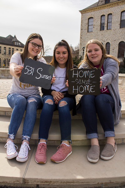 Sophomore Glenna Burris, freshman Kayla McCollough and junior Sarah Mikesic are looking forward to the new house. The Alpha Gamma Delta house will be located at 531 Sunset Avenue. (Andrea Klepper | Collegian Media Group)