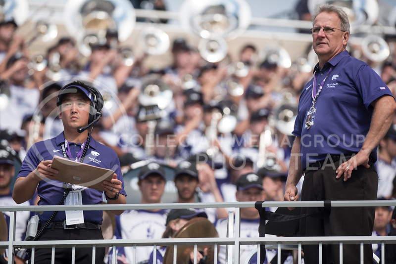 Director of Bands Frank Tracz and Assistant Director of Bands Alex Wimmer lead the Kansas State Wildcat Pride Marching Band during the football game against the Texas Christian Univerisity Horned Frogs at Bill Snyder Family Stadium in Manhattan, KS, on Oct. 14, 2017. (Olivia Bergmeier | Collegian Media Group)