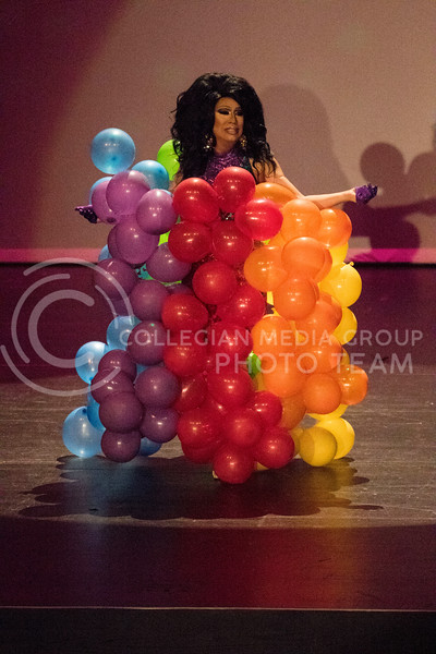 Wearing a balloon dress, Queen Lil' Kim Chi enters the stage to perform her upbeat routine during the Drag Show at McCain Auditorium on Feb. 9, 2018.  Sabrina Cline | Collegian Media Group