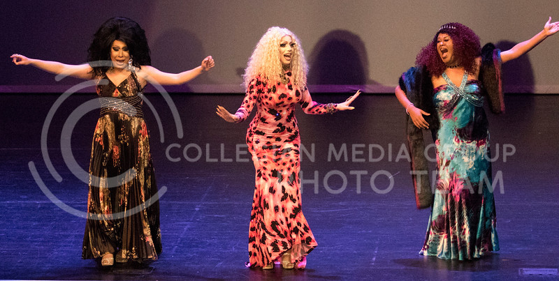 Queens Lil' Kim Chi, Victoria Fox and TyWoo perform together on stage for one of the last numbers during the Drag Show at McCain Auditorium on Feb. 9, 2018.  Sabrina Cline | Collegian Media Group