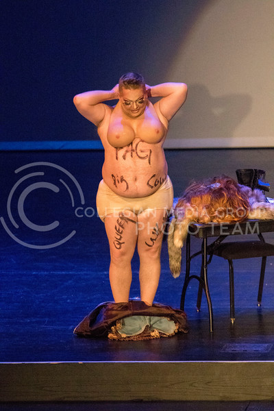 Queen Monica Moree removes her clothes to portray a powerful message about the LGBT community during the Drag Show at McCain Auditorium on Feb. 9, 2018.  Sabrina Cline | Collegian Media Group