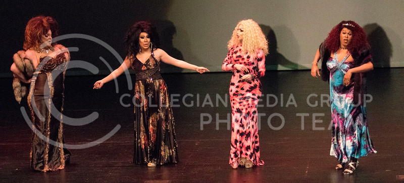 Queens Monica Moree, Lil' Kim Chi, Victoria Fox and TyWoo perform together during the last number on stage during the Drag Show at McCain Auditorium on Feb. 9, 2018.  Sabrina Cline | Collegian Media Group