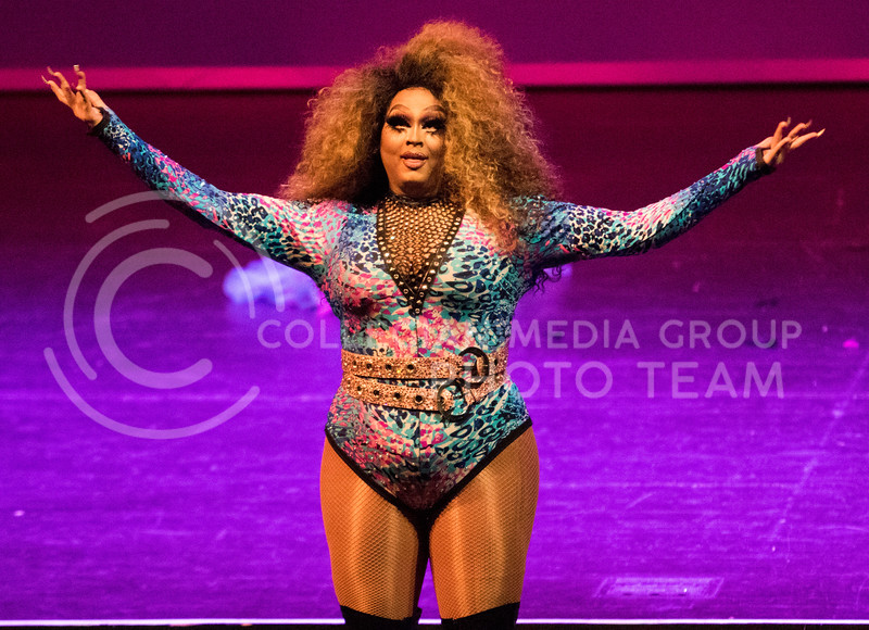 Queen Sarah Jessica Darker takes in applause after her routine during the Drag Show at McCain Auditorium on Feb. 9, 2018.  Sabrina Cline | Collegian Media Group