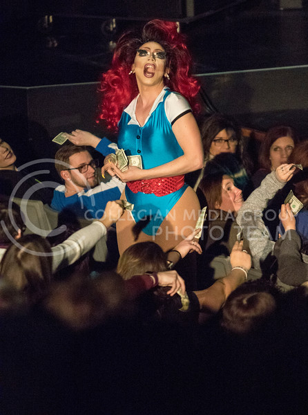 Queen Victoria Fox takes her performance to the audience during the Drag Show at McCain Auditorium on Feb. 9, 2018.  Sabrina Cline | Collegian Media Group