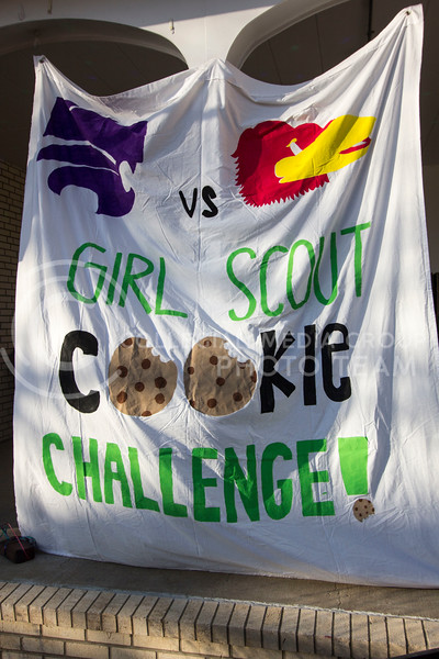 A banner hangs in front of the Kappa Delta Sorority house to support their philanthropy event with the Girl Scouts of America on Feb. 13, 2017 Sabrina Cline |