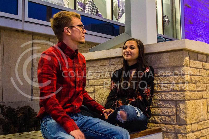 Senior Kristen Egger and her Husband Graduate Corey Egger talk about their day outside of the Union. ( Dalton Wainscott )