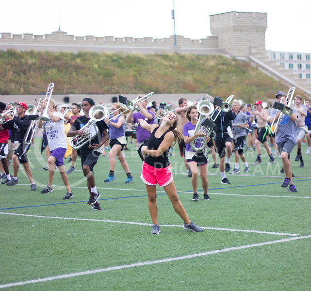 Baton twirlers practicing with the band to stay on beat and precise at practice on October 3rd, 2017. (Kelly Pham | Royal Purple)
