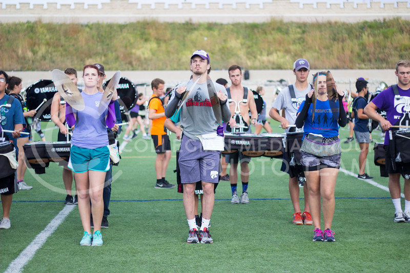 Kansas State percussion practicing their songs repeadetly until perfected at Memorial Stadium on October 3rd, 2017. (Kelly Pham | Royal Purple)
