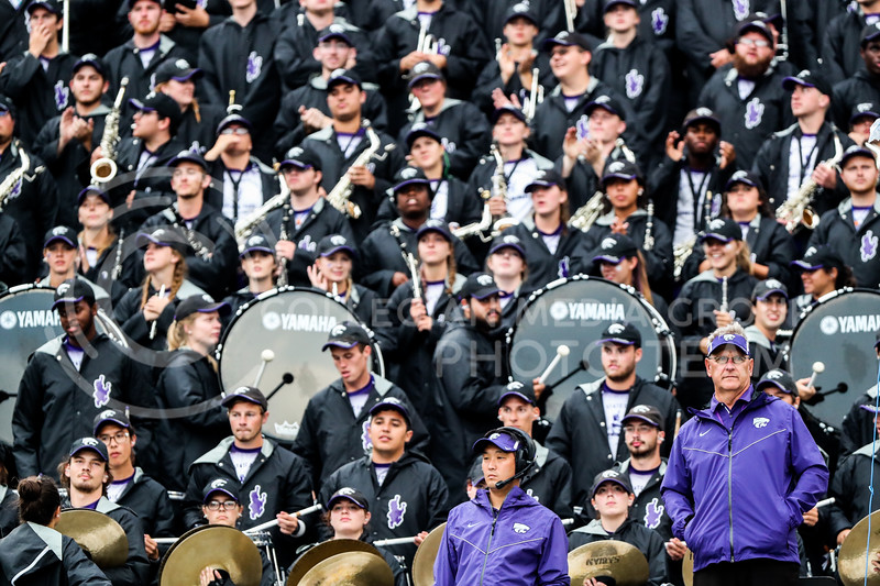 The K-State Marching band performs during Kansas State University vs Texas Christian University football game. (Photo by Cooper Kinley | Kansas State Athletics)