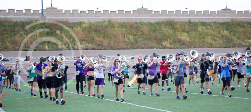 Kansas State marching band practicing new songs at Memorial Stadium on October 3rd, 2017. (Kelly Pham | Royal Purple)