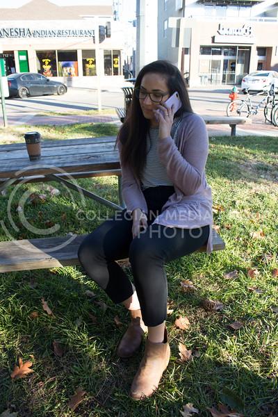 Christina DeGraffenreid, senior in speech pathology and gerontology, talks on the phone on Nov. 8, 2017. (Abby Cambiano | Collegian Media Group)