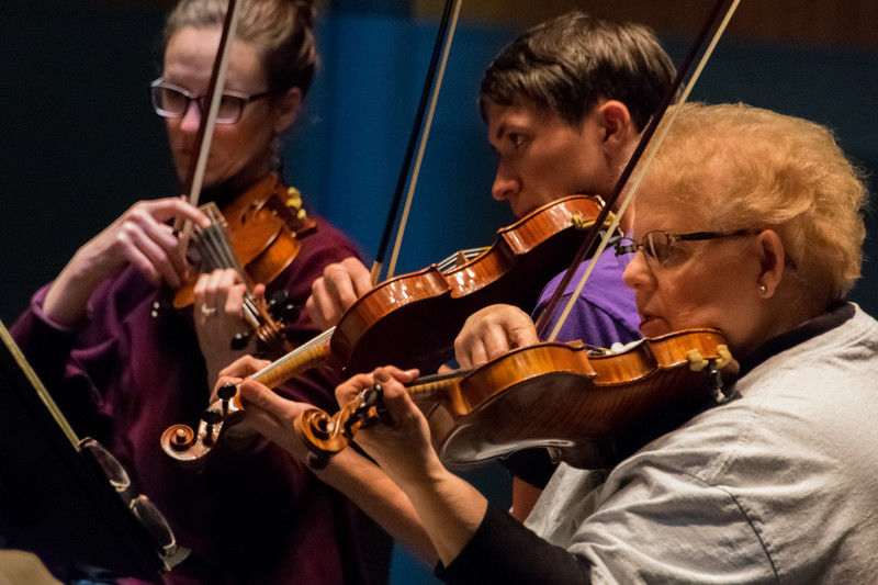 Under the direction of Dr. David Littrell who will be retiring after 31 years in May 2018, the K-State orchestra practices for their performance in McCain Auditorium on February 20. (Alex Todd   Collegian Media Group)