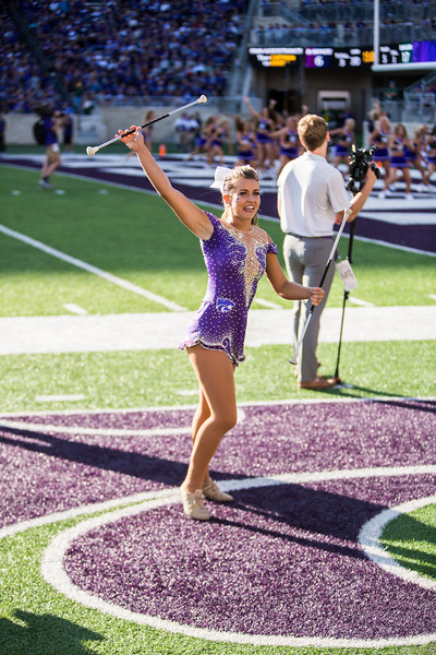 Junior baton twirler Delaney Madden performs during K-State's football game against Baylor in Bill Snyder Family Stadium on Oct. 5, 2019. The Wildcats fell to the Bears 31-12. (Logan Wassall | Collegian Media Group)
