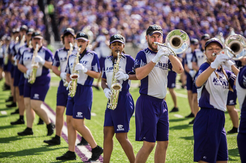 K-State's marching band performs on the field before the football game against Bowling Green in Bill Snyder Family Stadium on Sept. 7, 2019. The Wildcats shut down the Falcons with a final score of 52-0. (Logan Wassall | Logan Wassall Collegian Media Group)
