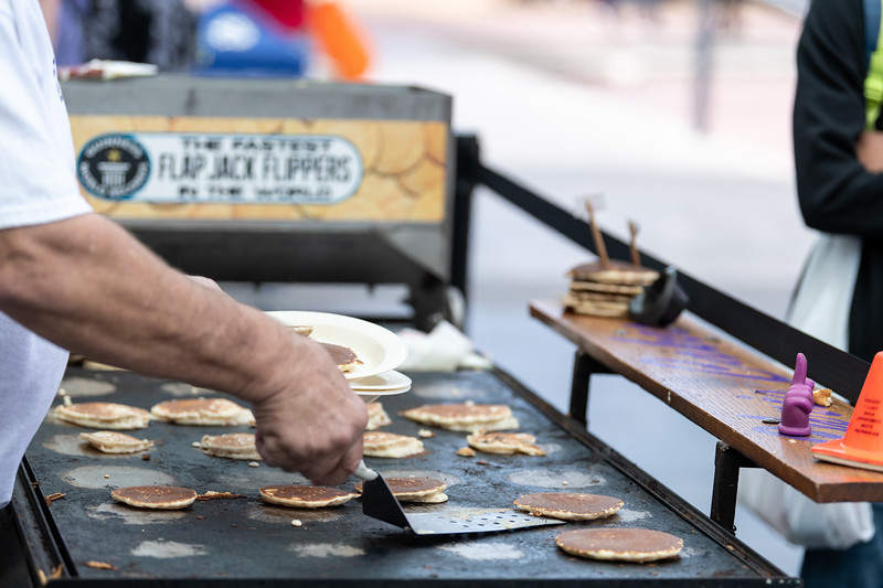 Chris Cakes, which held the Guinness World Record for 555 pancakes flipped in an hour, keeps students full during the Kansas State Farmers' Market in Bosco Student Plaza on September 26, 2018. (Alex Todd | Collegian Media Group)