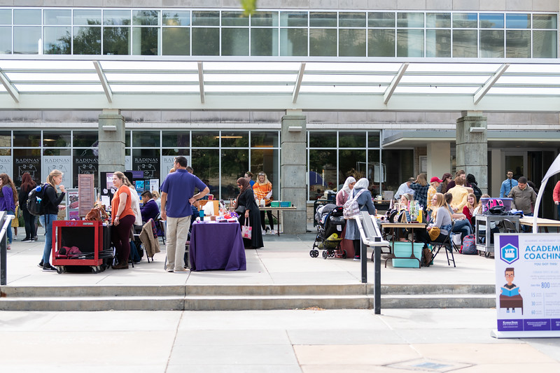 On September 26, 2018 hundreds of K-State students came out to visit the Kansas State Farmers' Market in Bosco Student Plaza. (Alex Todd | Collegian Media Group)