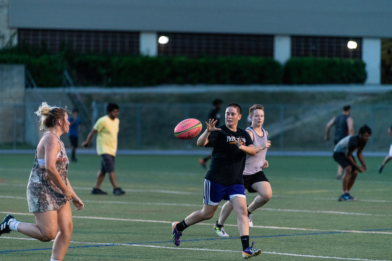 K-State senior Jayne Bannister catches an incoming pass during the women's rugby practice at Memorial Stadium on September 20, 2018. (Alex Todd | Collegian Media Group)