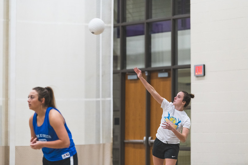 """During an intramural volleyball game at the rec on November 6, 2018 a member of the """"Dirty Diggers"""" starts off the game by serving the ball. (Alex Todd 