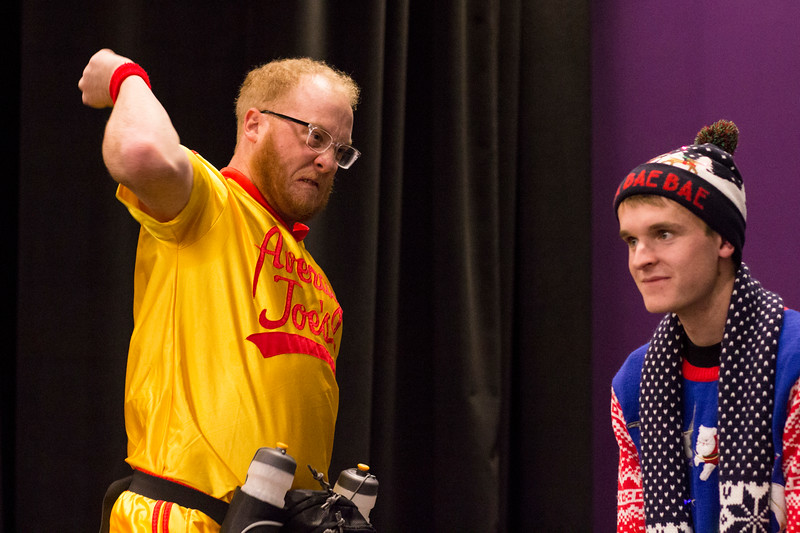 Grant Rogers (left) pretends to knock on a door as Jacob Casey (right) waits during a skit for the Halloween Show on October 29, 2018 in Wildcat Chamber. On the Spot Improv holds weekly performances on campus throughout the school year. (Andrea Klepper | Collegian Media Group)