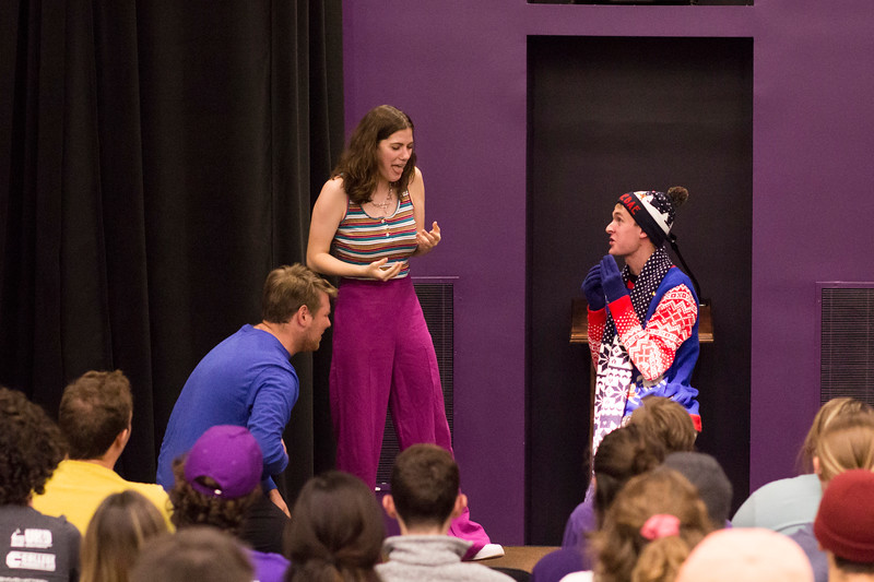 Evan Heger (left), Ashlynn Kullberg (center) and Jacob Casey (right) pretend to eat scorpions during a skit for the Halloween Show on October 29, 2018 in Wildcat Chamber. On the Spot Improv holds weekly performances on campus throughout the school year. (Andrea Klepper | Collegian Media Group)