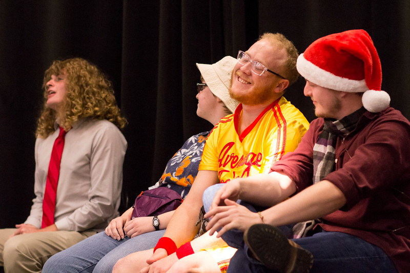 Nate Kochuyt (left) asks contestant number 2, Grant Rogers (center) a question during the dating show skit for the Halloween Show on October 29, 2018 in Wildcat Chamber. On the Spot Improv holds weekly performances on campus throughout the school year. (Andrea Klepper | Collegian Media Group)